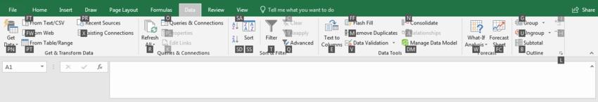 Excel keyboard data shortcut